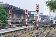 Train signals and traffic light Royalty Free Stock Images