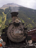 Train in Silverton is an old Silver Mining town in the State of Colorado USA. The Narrow Gauge Railway from Durango to Silverton that runs through the Rocky Royalty Free Stock Photo