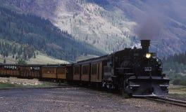 Train Silveton de jauge étroite Photographie stock