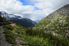 Train from Skagway Alaska to White Pass Royalty Free Stock Photos