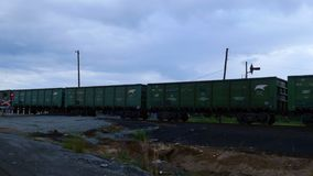 Train is traveling along the rails stock footage
