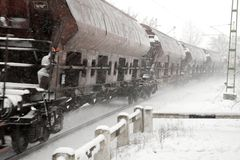 Train snow Royalty Free Stock Photos