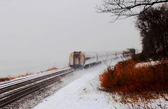 Train in snow at Bear mountain with winter colors Royalty Free Stock Photo