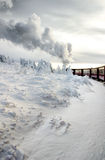 Train in the snow. Dramatic winterlandscape with smoke, german Harz mountains Royalty Free Stock Photos