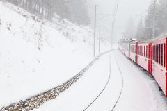 Train in the snow Stock Photo