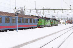 Train in the snow Stock Photos