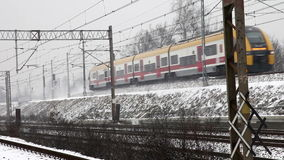 Train in snowy day stock video footage