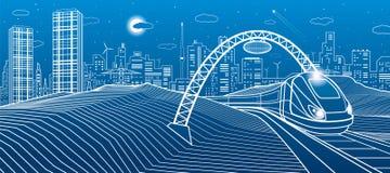 Train sous la passerelle Ville moderne de nuit, ville au néon Illustration d'infrastructure, scène urbaine Lignes blanches sur le illustration de vecteur