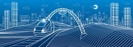 Train sous la passerelle Ville moderne de nuit, ville au néon Illustration d'infrastructure, scène urbaine Lignes blanches sur le