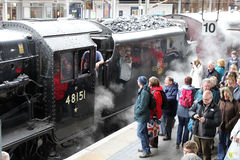 Train spécial de vapeur - Carnforth vers York Photos libres de droits