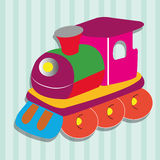 Train. Special train toy on special blue lines background Royalty Free Stock Photo