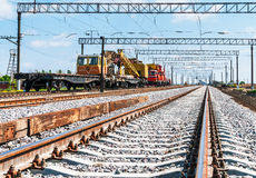 Train with special track equipment Royalty Free Stock Photography