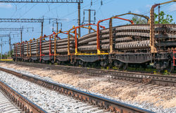 Train with special track equipment at repairs Stock Images