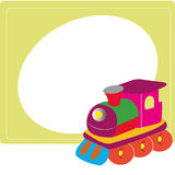 Train. On special yellow background with a big circle for text Stock Image