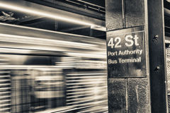 Train speeding up in New York subway. 42 st Royalty Free Stock Images