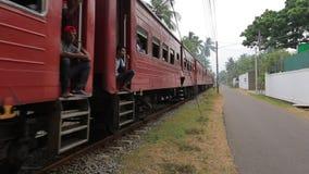 Train in Sri Lanka. Passenger train in Sri Lanka stock footage