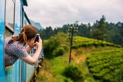 Train in Sri Lanka. Young woman enjoying train ride from Ella to Kandy among tea plantations in the highlands of Sri Lanka stock photos