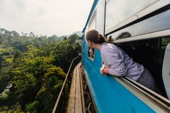 Train in Sri Lanka. Young woman enjoying train ride from Ella to Kandy among tea plantations in the highlands of Sri Lanka stock images