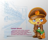 Train staff cat is carrying green whistle in cartoon style and sketched platform background. stock illustration
