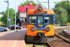 Train in Stalowa Wola, Poland. Stalowa Wola, Poland - April 29, 2018: Train class EN57 of Polregio, an electric multiple unit used by the Polish railway operator stock photo