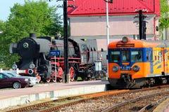 Train in Stalowa Wola, Poland. Stalowa Wola, Poland - April 29, 2018: Train class EN57 of Polregio, an electric multiple unit used by the Polish railway operator royalty free stock photo