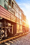 Train standing on rails Royalty Free Stock Photography