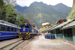 Train stands at Machu Picchu pueblo station. Royalty Free Stock Photography