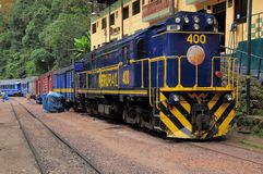 Train stands at Machu Picchu pueblo station. Royalty Free Stock Photo