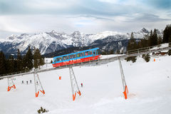 The train of Standseil railway in Seefeld Stock Photography
