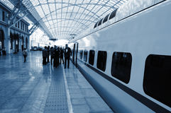 At the train station royalty free stock image