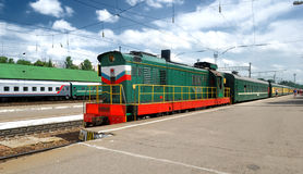 Train at the station. In bright sunny day in Russia royalty free stock image