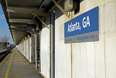 Train Station. Atlanta, Ga passenger train boarding platform Stock Images