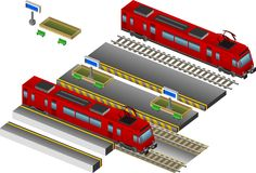 Train with station. Red Train with station and garden and rail Royalty Free Stock Photo