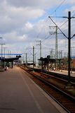 Train station 2. Depot in Germany - Karlsruhe. Departure an d arrival rails Stock Image