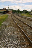 Train Station. Train tracks leading to White River Junction Vermont stock photography