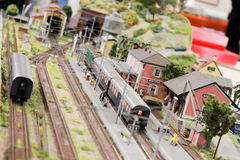 Train Station. A detail of a miniature train station Stock Photo