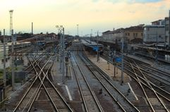 Train station. With its tracks and platforms Stock Photos
