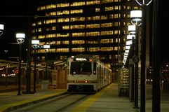Train Station. A train waits at the station at night Stock Photography