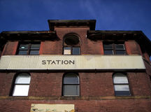 Train Station. Front of old train station with blank signs royalty free stock photography