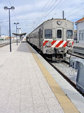 Train station. View of a portuguese train stopped at a train station Royalty Free Stock Images