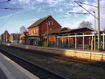 Train station. In German town of Pulheim near Cologne Royalty Free Stock Image