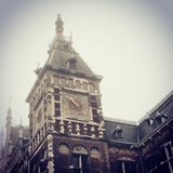 Train Station in Amsterdam. The Tower of the Train Station in Amsterdam Royalty Free Stock Images