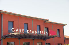 Train station at Antibes France Stock Image