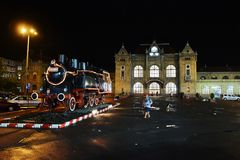 Arad Central Railway Station. Train station in Arad at night Royalty Free Stock Photo