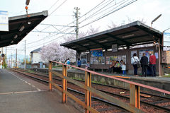 Train station in the Arashiyama,Kyoto,Japan. Visitors waiting for scenic train to the Arashiyama,Kyoto,Japan Stock Image