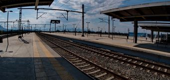 Train station in Athens. A picture of a train station in Athens Greece,in a summer day afternoon of april Stock Photo