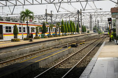 Train station background in indonesia bogor. Java royalty free stock photography