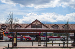 The train station behind is Mount Fuji. royalty free stock photography