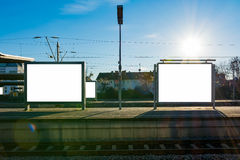 Train Station Billboard Blank White Isolated Clipping Path Outdo Royalty Free Stock Images