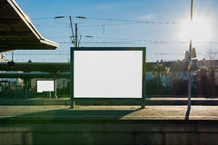 Train Station Billboard Blank White Isolated Clipping Path Outdo Stock Photo